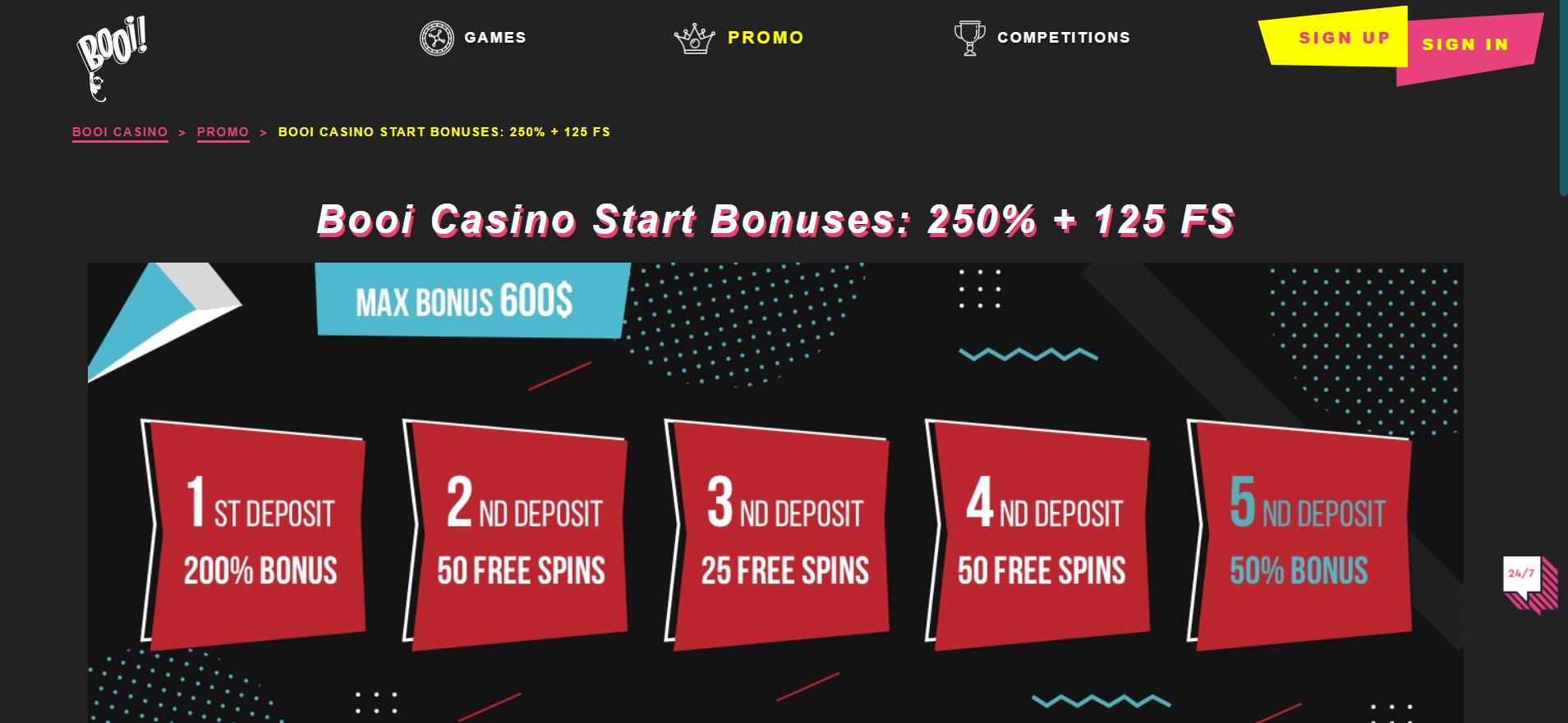 booi casino website screenshot bitcoinfy