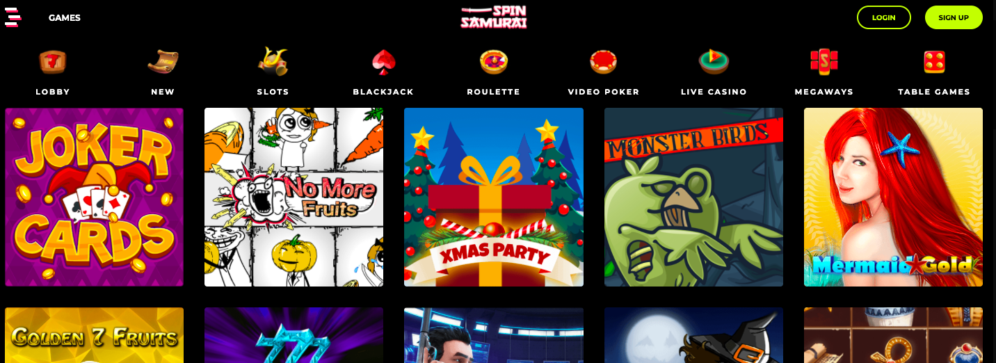 spin samurai website screenshot
