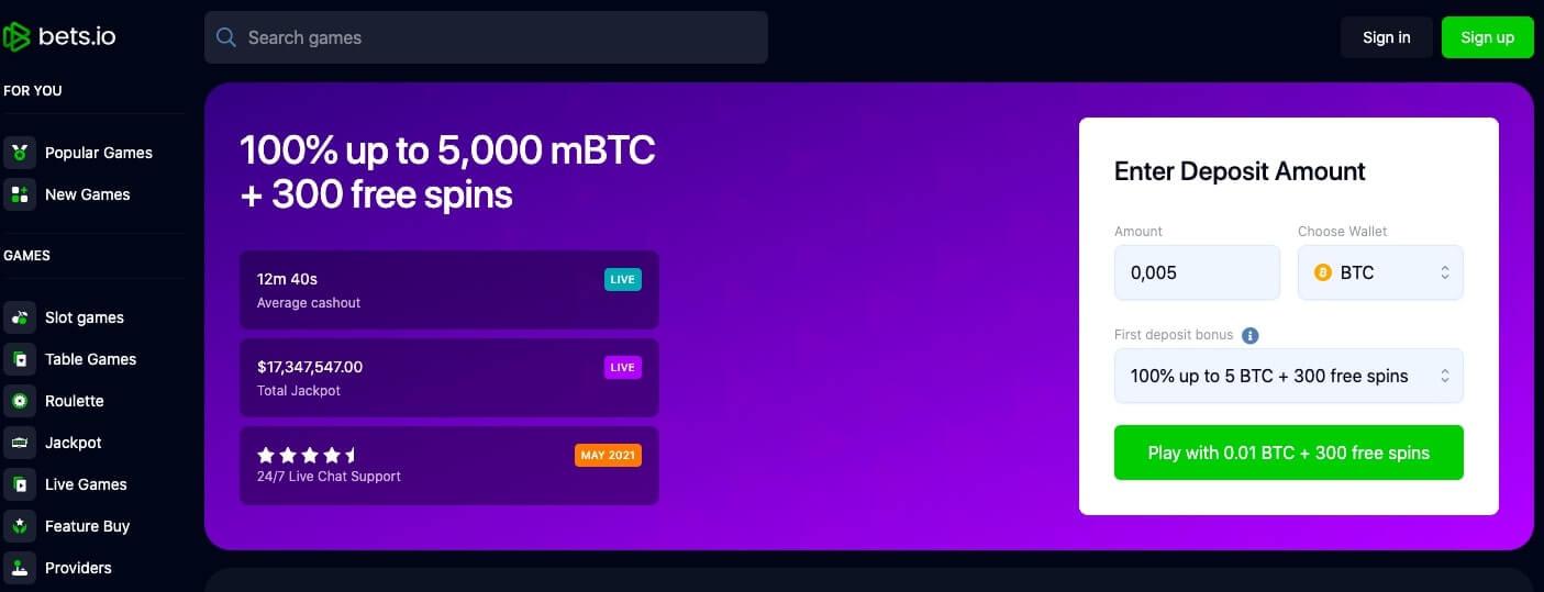 bets.io website screenshot